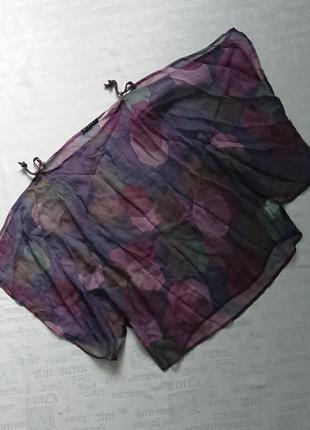 Интересный шелковый блузон sisley/свободная блуза/легкая накидка #100%шелк#