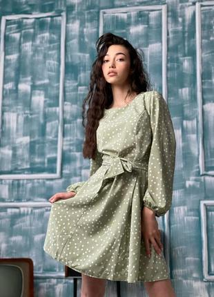 Красивейшее платье в горох натуральная ткань распродажа
