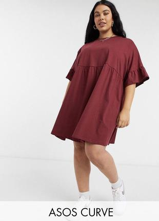 Бордовое платье футболка оверсайз свободное с оборкой asos батал