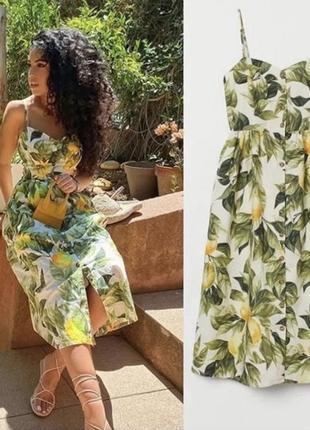H&m платье сарафан из натуральной ткани принт лимоны на пуговицах