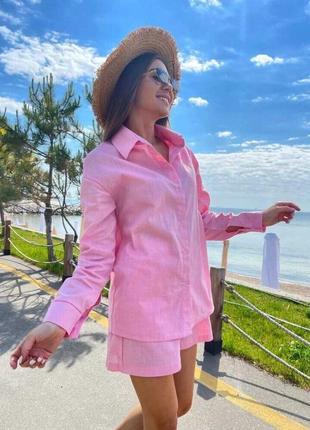 Льняной свободный розовый костюм рубашка оверсайз и шорты фактурный лен
