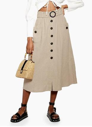 Потрясающе стильная льняная юбка ниже колена