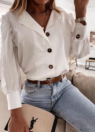 Легкая белая рубашка блуза американский креп