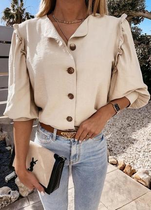 Легкая бежевая рубашка блуза американский креп