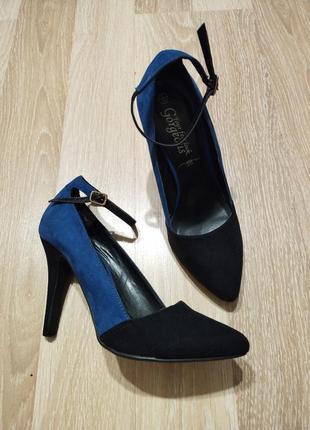 Акция 1+1=3🤩🤑стильные замшевые туфли лодочки с ремешком