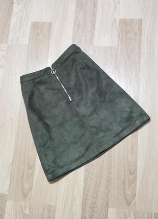 Акция 1+1=3🤑🤩 замшевая юбка трапеция на молнии