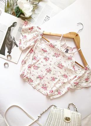 💔 ніжна котонова блуза/топ/кроп-топ в квіти з відкритими плечима primark, на р. s 💔