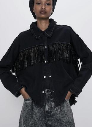 Джинсовая куртка zara с бахромой