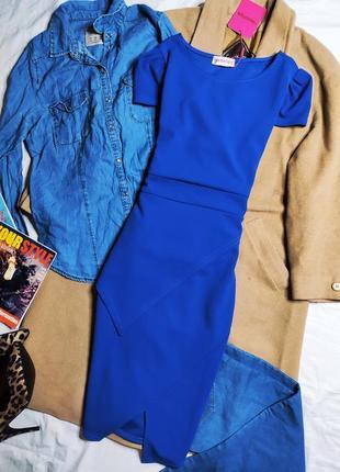 Pink boutique платье синее голубое электрик миди карандаш футляр по фигуре новое с баской
