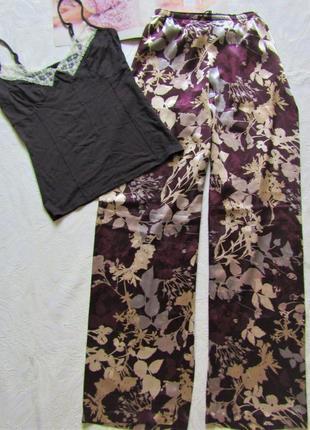 Сатиновые брюки для дома и отдыха  m&s   размер м новые свободный фасон