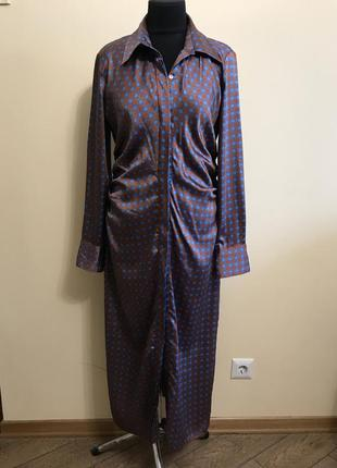 Платье рубашка длинное zara