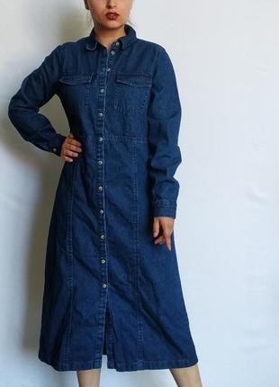 Джинсовое платье-рубашка осеннее