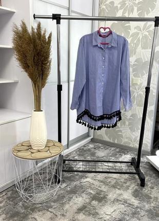 Голубая рубашка от zara, р. хл.