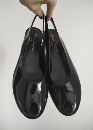 Новые босоножки robert clergerie слингбэки туфли чёрный лак премиум кожа танкетка