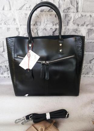 Женская большая кожаная сумка жіноча шкіряна