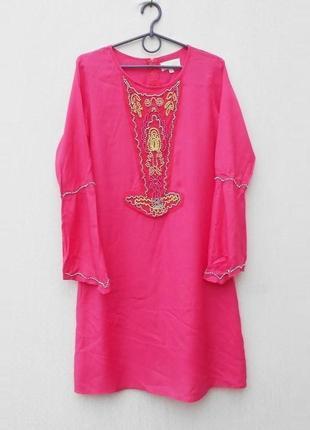 Летнее платье  с длинным рукавом туника пляжная с вышивкой бисером вискоза