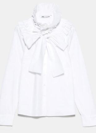 Белая рубашка из поплина от zara новая коллекция