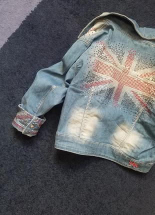 Джинсовый укороченный пиджак жакет в камни s