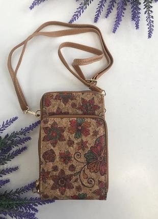 Сумочка месседжер для телефона кошелёк на длинном ремешке через плечо коричневый италия