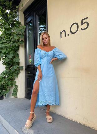 Голубое платье миди хлопок с вышивкой