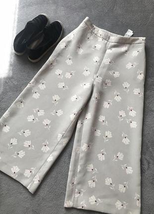 Кюлоты зара брюки в цветочный принт zara