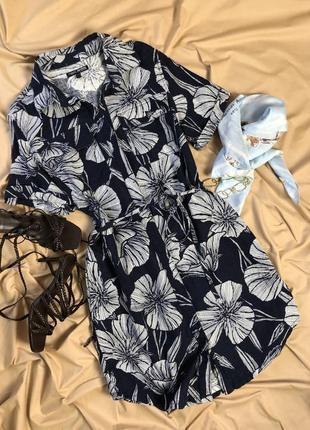 Льняное платье рубашка сине-белого цвета в цветы next