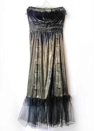 Вечернее черное с золотом платье, платье без бретелек
