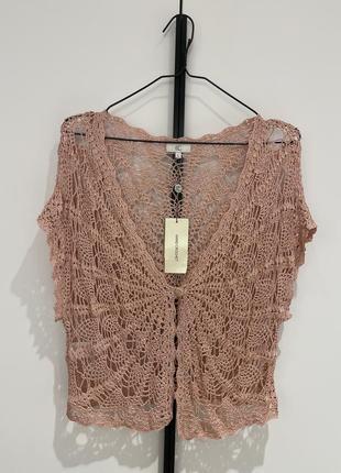 Ажурная накидка- блуза с люрексом