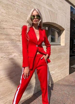 Красный костюм , костюм с лампасами , пиджак и брюки , брючный костюм 46