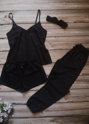 Сатиновая пижамка, хлопковая пижама, чёрный комплект для сна