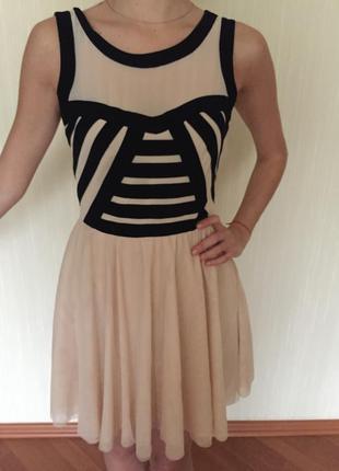 Коктейльное платье нюд