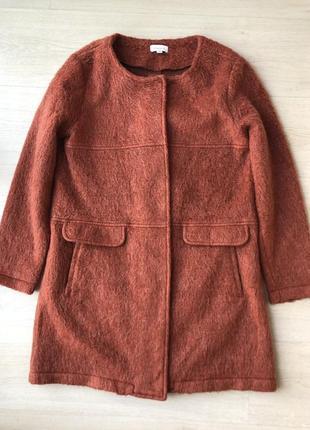 Рыжее шерстяное пальто шерсть тренч пиджак