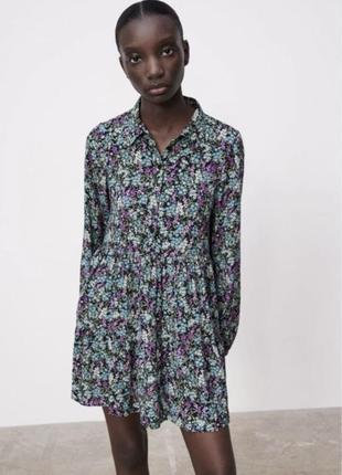 Платье в цветочный принт zara размер s