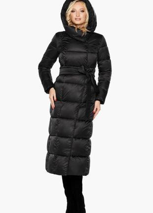 """Зимнее длинное пальто braggart """"angel's fluff"""", 31056 черный, оригинал"""