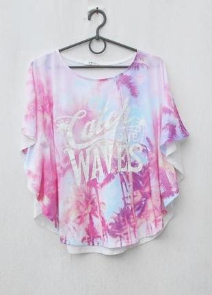 Летняя трикотажная блузка с надписью