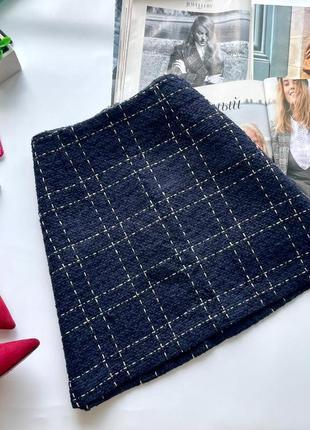 👗офигенная тёмно синяя короткая юбка в клеточку твид /твидовая клетчатая синяя юбка трапеция👗
