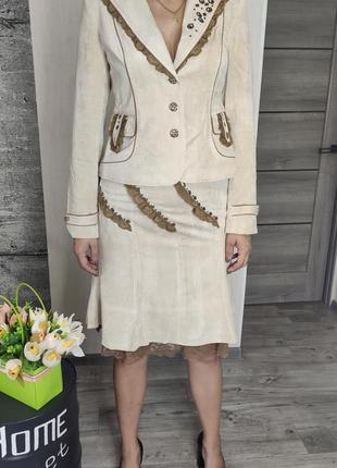 Костюм женский бежевый  - юбка и пиджак(1046)