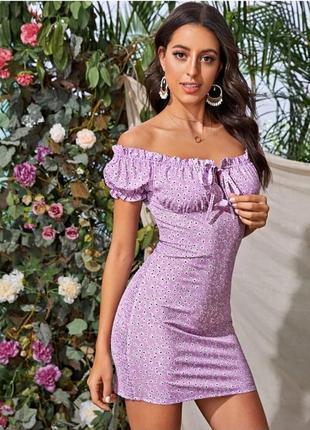 Трендовое лиловое мини платье резинка