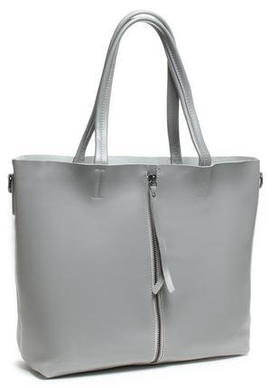 Большая женская классическая сумка из натуральной кожи на три отделения