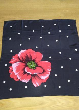 Винтажный платок из натурального шелка, шов роуль