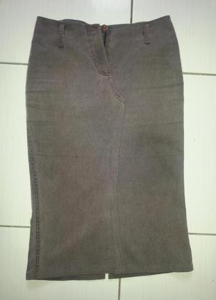 Коричневая джинсовая юбка
