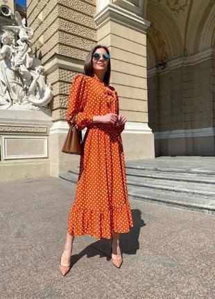 Платье миди - 2 цвета, платье в горох, платье софт, легкое платье (арт 12002)