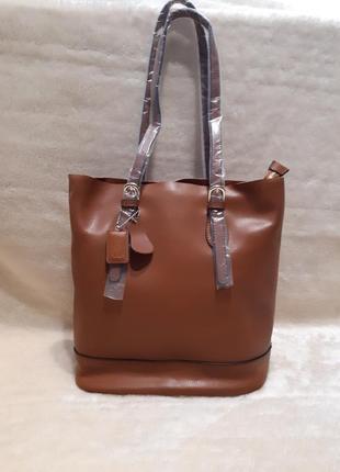 Новая кожаная коричневая сумка тоут 100% кожа genuine leather