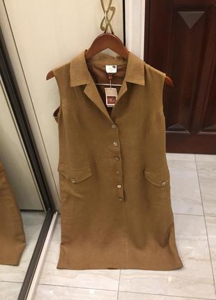 Плаття льон люкс бренду country casuals camel linen dress оригінал
