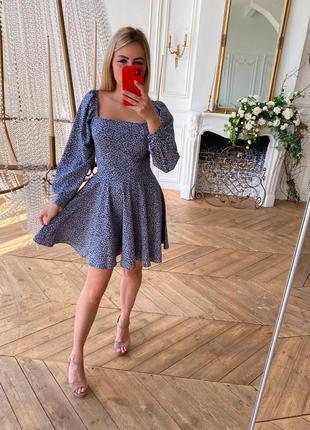 Мини платье сарафан юбка солнце клеш объемный рукав мих