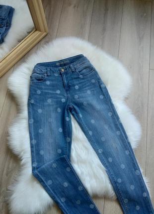 Michael kors selma skinny оригінальні джинси повсякденні штани брюки на високій посадці скінні голубі  принт горох s 27