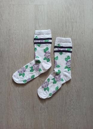 Высокие хлопковые носки с принтом