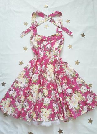 Ретро платье, цветочный принт, винтаж, стиль, хлопок
