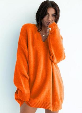 Трендовий оверсайз светр 3 кольорах / вязаная удлененная кофта