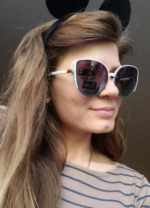 Новые красивые очки бабочки с блеском по бокам (линза с поляризацией) белая оправа